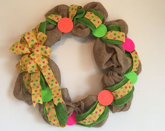 Bright Polka Dot Burlap Wreath