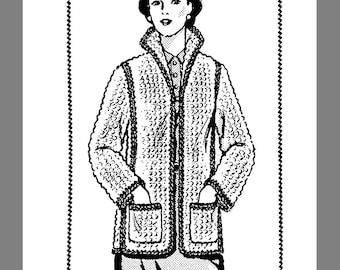 Design Vintage Mail Order Women's Crocheted Jacket crocheting pattern # 7144  Reprint / Copy