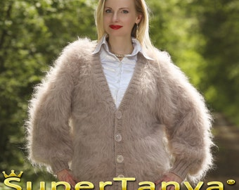 Made to order hand knitted vintage mohair cardigan, super fuzzy sweater in beige by SuperTanya