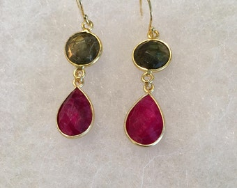 Labradorite and ruby earrings