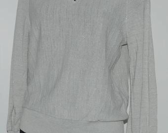 Pull vintage gris avec fil brillant Taille 38 FR
