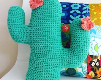 Flower Cactus Cushion - Crochet Cactus - Crochet Cactus Pillow - Crochet Cushion - Saguaro - Cacti