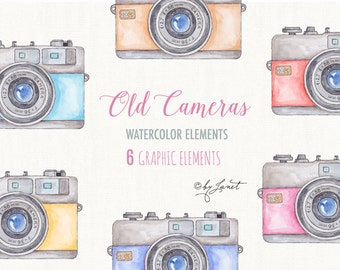 Old Cameras - Watercolor Elements - PNG file