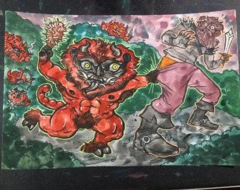 Manticore Ambushes Original 6x9 Gouache Painting