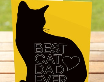 Cat fathers day card etsy cat dad greeting card best catdad ever fathers day card a7 5x7 folded sciox Gallery