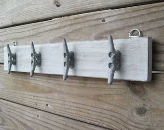 Distressed White Boat Cleat Rack - Nautical Key Holder - Coastal Coat Rack with Boat Cleats