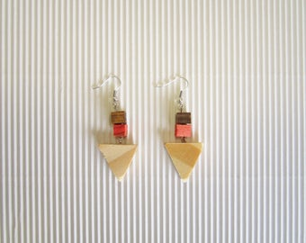 Wooden Earrings Triangle Handmade