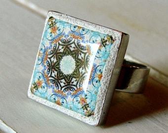 Boho Mandala Ring - Wearable Art Jewelry - OOAK Art Jewelry - Mosaic Tile Ring - Boho Jewelry - OOAK Jewelry - Bohemian Ring