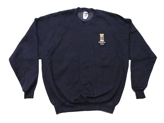 Vintage Days of Our Lives Embroidered Navy Blue Sweatshirt
