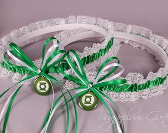 Green Lantern Lace Wedding Garter Set