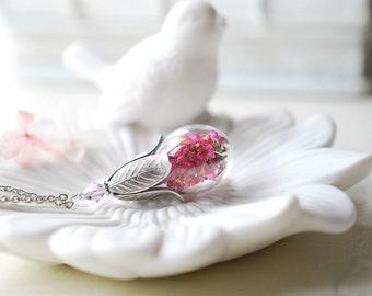 Fuchsia Pink Real Flower Terrarium necklace, October Birthstone Jewelry, Rose Zircon, Silver Tulip Glass Bottle Pendant, gift for women her