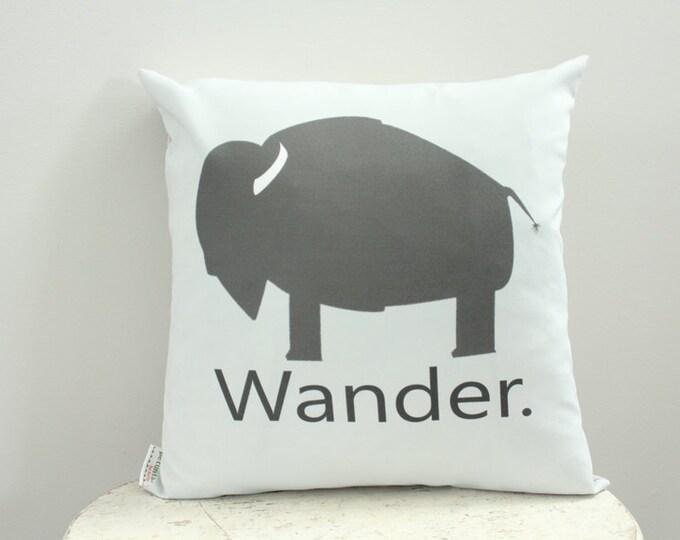 Pillow cover buffalo wander grey 18 inch 18x18 modern hipster accessory home decor nursery baby gift present zipper canvas ready to ship