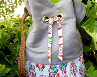 Ethnic bag, light gray Suede, cotton dream catcher, reversible pattern, camel braided handle