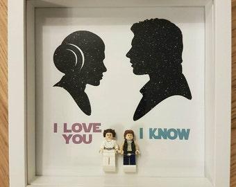 """Star Wars Han Solo and Princess Leia """"I LOVE YOU I KNOW"""" Lego Display Frame"""