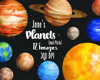 Watercolor Planets Clipart - Solar System Download - Instant Download - Watercolor Planets Graphics - Mars - Earth - Jupiter - Saturn