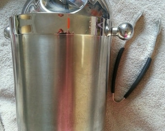 vintage silver Copco chrome ice bucket set with lid and tongs