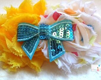 Shabby Party Dots Yellow Headband.. Party dots with sequin blue bow Baby Girl Headband,  Newborn headband,   Baby Girls Headbands