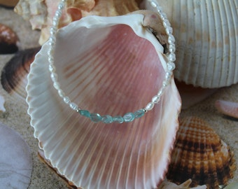 Blue apatite and pearl ankle bracelet