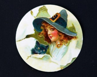 Halloween Witch and Cat Sticker Seals Vintage Style