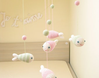 Fish Pastel Baby Mobile, Baby Girls Mobile, Crochet Mobile, Pale Pink and Green Mobile, Nursery Decor, Baby Girl Nursery, Baby Shower Gift