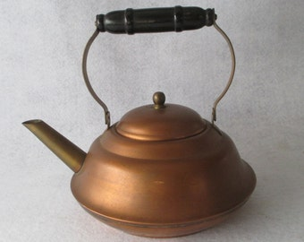 Tea Kettle, Copper, and Brass Small 1 Quart / LiterWood Handle, Vintage, Retro Kitchen Farmhouse Cottage Asian Decor
