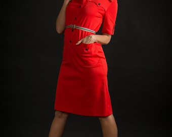Vintage Red Belted Shift Dress (Size Medium)