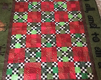 Merry Christmas To All and To All A Goodnight Appliqued Christmas Quilt