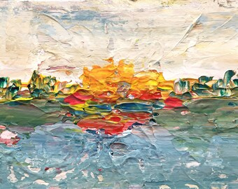 "Original abstract expressionist painting abstract landscape - ""Sittin' on the Dock of the Bay"""