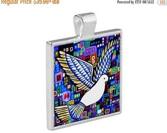 White Dove Necklace Bird Animal Folk Art Jewelry - Pendant Metal  Gift Art Heather Galler Gift - Spirit Animal Vegan Gifts