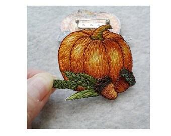 Pumpkin - Acorns - Fall - Autumn Pin Brooch - Embroidered - Seasonal Jewelry