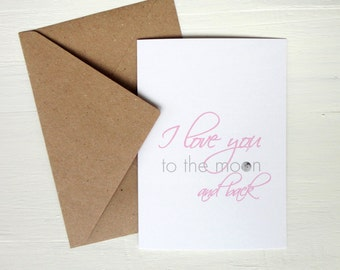 Anniversary card I love you to the moon and back Valentines card modern greeting card