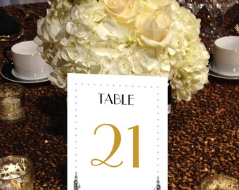 Art Deco Table Numbers, Roaring 20s, Hollywood Glam, Flapper, Art Nouveau, Vintage,  1 - 50, Gold and Black, Instant Download and Print