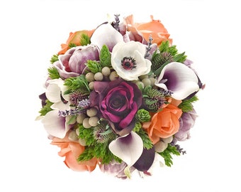 Stemple's Gatherings- Picasso Callas, Light Orange and Ivory Roses,Peonies,Brunia,Hops & Thistle-In a vase or a bouquet