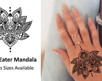 Lotus Eater Hand Mandala - Temporary Tattoo
