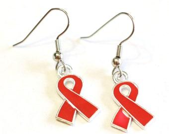 Red Awareness Ribbon Charm Earrings - Womens Earrings - Warrior Earrings - Cancer Survivor Jewelry Charms - 925 sterling silver hook