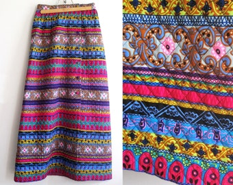 Vintage Alex Colman Maxi Skirt, Purple Pink Blue Gold Alex Colman Womens, SALE