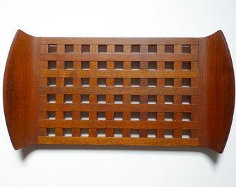 Vintage Dansk Tray, Dansk, Basket Weave, Teak Tray, Dansk, Denmark, JHQ, Lattice Tray, Serving Tray