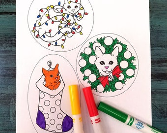DIGITAL DOWNLOAD Christmas Cat Coloring Ornament, Cat Lover Gift, Printable Holiday Gift Tags, Coloring Pages, Printable Ornaments Download