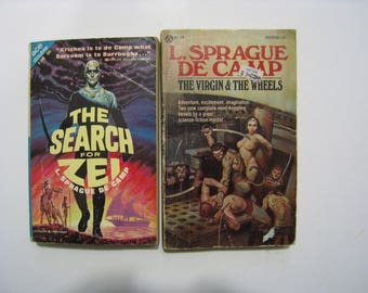 2 vintage SciFi novels by L Sprague DeCamp. The Search for Zei, The Hand of Zei and The Virgin and The Wheels. Science fiction books