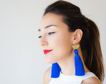 Royal Blue Earrings Tassel Earrings Statement Earrings Statement Jewelry Long Earrings Blue Outfit Blue Accessory Boho Earrings / CHASSIO