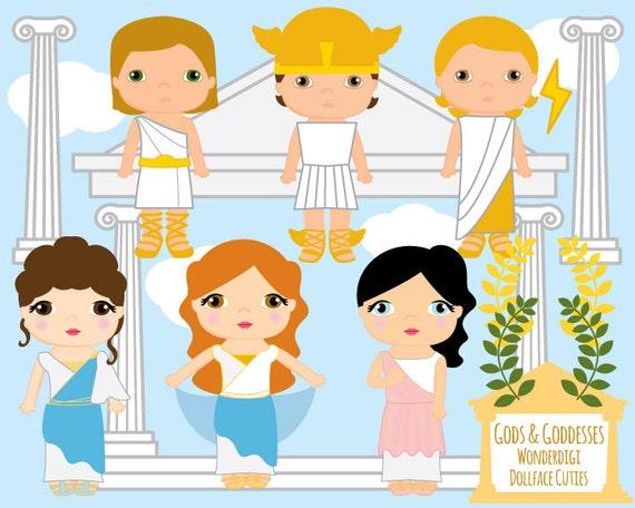 cute kids clipart greek gods goddesses kids toga party rh etsy com greek mythology gods clipart greek gods clipart black and white