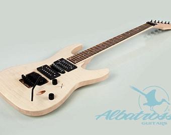 Albatross guitars diy guitar kits by albatrossguitars on etsy diy mahogany guitar kit bolt on neck solid mahogany body flamed maple veneer with dot inlay gk835 solutioingenieria Choice Image