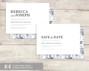 Modern Flower Print and Serif Font - Printable Wedding Invitation PDF