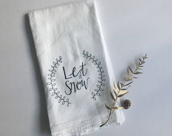 Let it snow kitchen towel, hand lettered, red nose, black and white flour sack towel, modern kitchen decor, winter decor, Christmas linen