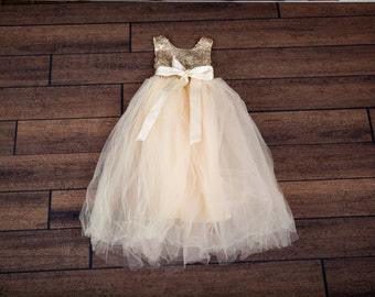 Ivory Cream Flower Girl Dress, Gold Sequin Top, Floor Length Dress, Elegant Wedding, Tutu Dress, Ball Gown, Boho Chic, Couture Style