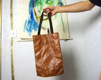 80's MICHIGAN LEATHER brown tote bag