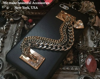 """Brazalete Stylish Personalized Chain Hook Rings Wristlet Wrist Lanyard Gold & Silver Jewelry Charm Open Book Style Case For iPhone 6s - 4.7"""""""