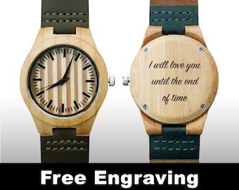 Groomsman Gifts, Wedding Gift, Wood Watch, Engraved Watch, Engraved Wood Watch, Wooden Watch, Stripes, Brown Leather Strap, Design #2