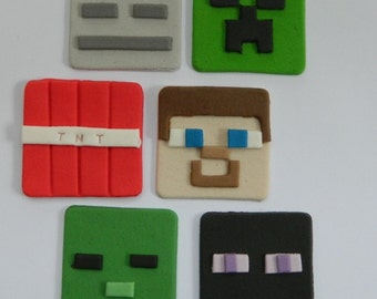 12 edible ASSORTED Mine cake Craft cupcake topper game icing decorations wedding anniversary birthday minecraft inspired DECORATION creeper