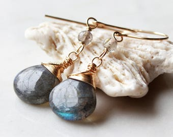 Labradorite Earrings, Gold filled wire wrapped earrings, dangle earrings, green gemstone, gift for her, mother's day gift, holiday gift